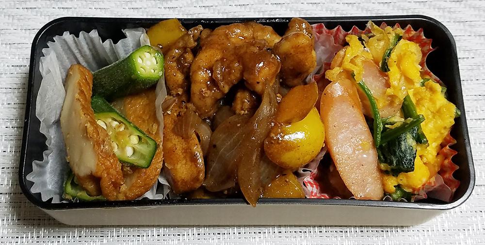 味付け超簡単鶏もも肉のウスターソース炒め弁当