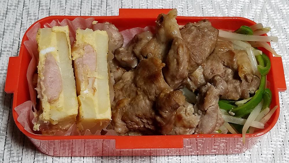 味け付け簡単豚肩ロース肉塩麹焼き弁当